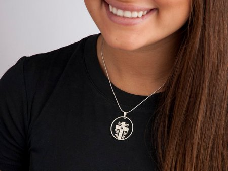 "Silver Religious Cross Pendant, Hand cut religious cross medallion, 1 1/4"" diameter, ( # 875S )"