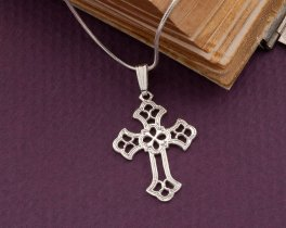 "Silver Religious Cross Pendant, Sterling Silver Cross Pendant, Silver Religious Jewelry, 1"" across, ( # 815S )"