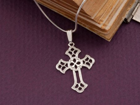 """Silver Religious Cross Pendant, Sterling Silver Cross Pendant, Silver Religious Jewelry, 1"""" across, ( # 815S )"""