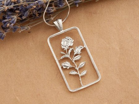 "Silver Rose Pendant and Necklace, Hand cut sterling silver, Floral Jewelry, 1 3/4"" long, ( # 832S )"