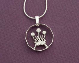"Silver Scottish Thistle Pendant, Hand cut Scottish three pence Thistle Coin, Scottish Thistle Jewelry, 3/4"" in diameter, ( # 136S )"