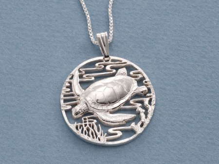 "Silver Sea Turtle Pendant and Necklace, Hand cut Silver Sea Turtle Pendant, Sterling Silver Sea Turtle Jewelry, 1 1/4"" diameter, ( # 587S )"