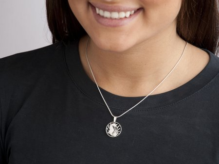"Silver Seahorse Pendant and Necklace, Hand cut Singapore coin pendant, Silver Sea Life Jewelry, Seahorse Jewelry, 5/8"" diameter, ( # 295S )"