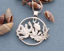 "Silver Sealife Pendant, Sterling Silver Sealife Jewelry, Sealife Jewelry, 1 1/8"" diameter, ( # 639S )"