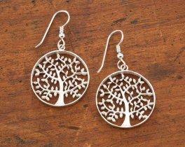 Silver Tree Of Life Earrings, Tree Of Life Jewelry, Tree Of Life Gifts, Sterling Silver Tree Of Life Earrings, Womans Jewelry, ( # 912ES )