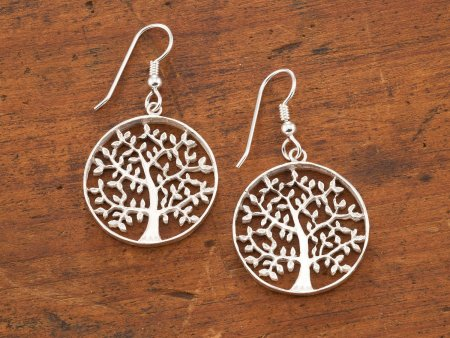 Silver Tree Of Life Earrings, Tree Of Life Jewelry, Tree Of Life Gifts, Sterling Silver Tree Of Life Earrings, Womans Jewelry, ( # 912ES )