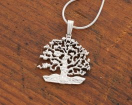 "Silver Tree of Life Pendant, Hand cut Tree of Life Coin Jewelry, Silver Tree of Life Jewelry, 7/8"" diameter, ( # 646BS )"