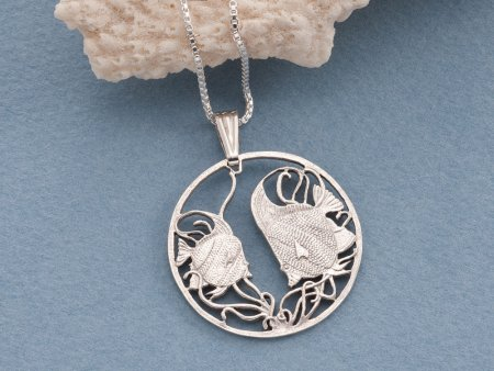 """Silver Tropical Fish Pendant, Hand cut Tropical fish Coin Jewelry, Silver Sea Life Jewelry, 1 1/8"""" diameter , ( # 644S )"""