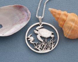 "Silver Turtle pendant and necklace, Hand cut Costa Rican Turtle Coin pendant , Silver Sea Life Jewelry, 1 1/8"" in diameter, ( # 400S )"