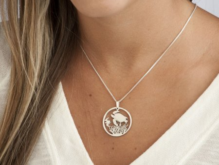 """Silver Turtle pendant and necklace, Hand cut Costa Rican Turtle Coin pendant , Silver Sea Life Jewelry, 1 1/8"""" in diameter, ( # 400S )"""