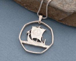 """Silver Viking Ship Pendant, Hand cut Viking coin pendant, Silver Nautical Jewelry, Viking Jewelry, 1 1/8"""" diameter, ( # 422S )"""