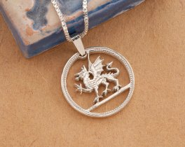 "Silver Welsh Dragon Pendant, Hand cut Welsh dragon Coin, Silver Welsh Dragon Jewelry, Dragon Jewelry, 7/8"" in diameter, ( # 483S )"