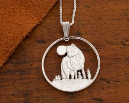 "Silver Wolf Pendant and Necklace, Hand cut Canadian Wolf Coin, Silver Wolf Jewelry, 1 1/8"" diameter, ( # 925S )"