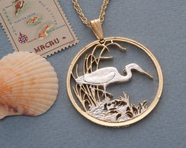 "Slatey Egret Pendant and Necklace, Botswana Egret Coin Hand Cut, 14 Karat Gold and Rhodium Plated, 1 1/2 "" in Diameter, ( # 563 )"
