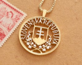 """Slovakia Crest Pendant and Necklace, Slovakia 20 Korun coin Hand Cut, 14 Karat Gold and Rhodium plated, 1 1/8"""" in Diameter, ( # 601 )"""