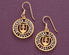 "Slovakian Coin earrings, Slovakia Korun coin Hand Cut, 14 Karat Gold and Rhodium plated, 14 K G/F Era Wires,3/4"" in Diameter, ( # 602E )"