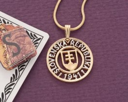 """Slovakian Crest Pendant and Necklace, Slovakian One Koruna, coin hand cut, 14 Karat Gold and Rhodium plated, 3/4"""" in Diameter, ( # 602 )"""