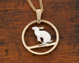 "Snowshoe Rabbit Pendant and Necklace, Canadian 5 Cents coin Hand Cut, 14 Karat Gold and Rhodium Plated, 3/4"" in Diameter, ( # 50 )"