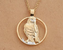 "Snowy Owl Pendant and Necklace, Hand Cut Private Mint Medallion, 14 Karat Gold and Rhodium Plated, 1 1/8"" in Diameter, ( # 588 )"
