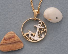 """Spanish Anchor and Ships wheel Pendant and Necklace, Spanish Coin Hand Cut, 14 Karat Gold and Rhodium plated, 3/4"""" in Diameter, ( # 279 )"""