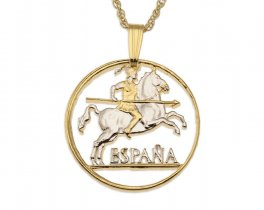 """Spanish Horse Pendant and Necklace, Spanish 10 Centimos Coin Hand Cut, 14 Karat Gold and Rhodium plated, 7/8"""" in Diameter, ( # 280 )"""