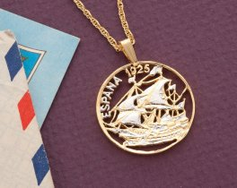 """Spanish Ship Pendant and Necklace, Spain 25 Centimos Ship Coin hand Cut, 14 Karat Gold and Rhodium plated, 1"""" in Diameter, ( # 810 )"""