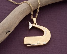 """Sperm Whale Pendant, Sperm Whale Necklace, Sperm Whale Jewelry, Sea Life Coin Jewelry, 1"""" in length, ( # 549BD )"""