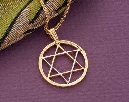 "Star Of David Pendant , Hand Cut Star Of David Medallion, Star Of David Jewelry, Jewish Heritage Jewelry, 1"" in Diameter, ( # 917 )"