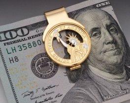 "Statue Of Liberty Money Clip, Hand Cut United States One Dollar Money Clip, 14 Karat Gold Plated Money Clip,1"" X 1 1/2"", ( # GWBM )"