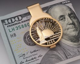 "Statue Of Liberty Money Clip, United States Coin Jewelry, Coin Money Clips, Statue Of Liberty Gifts, 1 1/2"" long, ( # SLWM )"