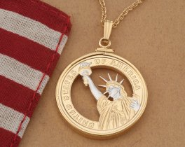 "Statue Of Liberty Pendant , Hand cut United States Coin Jewelry, Statue of LIberty Necklace, 1 1/8"" Diameter, ( # GWB )"