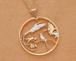Steamer Tail Hummingbird Pendant & Necklace, Jamacia Ten Dollar Coin hand Cut, ( # 564 )