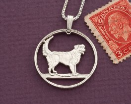 "Sterling Retriever pendant, Sterling silver dog pendant, Duck Tollar pendant, Canada coin jewelry, 1 "" diameter, ( # 613S )"
