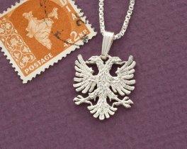 "Sterling Silver Albanian Eagle Pendant, Silver Albanian Eagle Jewelry, Albanian Jewelry, Albanian Eagle Pendant , 3/4"" ( # 929BS )"
