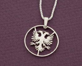 Sterling Silver Albanian Eagle Pendant, Silver Albanian Eagle Pendant, Albanian Coin Jewelry, Albanian Eagle Jewelry, ( # 940S )