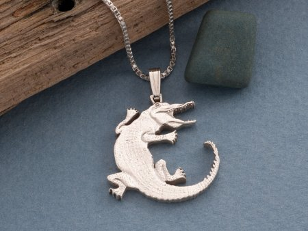 "Sterling Silver Alligator Pendant, Silver Alligator Jewelry, Alligator Jewelry, Wild Life Jewelry, 1 1/8"" long, ( # 878S )"