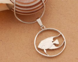 "Sterling Silver Angel Fish Pendant, Silver Tropical Fish Pendant, Bermuda Coin Jewelry, 3/4"" diameter, ( # 36S )"