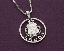 "Sterling Silver Aruba Pendant, hand cut Aruba Coin Jewelry, Aruba Jewelry, Silver Aruba Pendant, 1"" in Diameter, ( # 809S )"