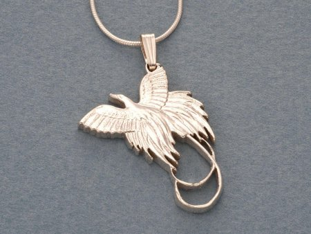 "Sterling Silver Bird Of Paradise Pendant and Necklace, Hand Cut New Zealand Bird Of Paradise Coin, 1 1/4"" in Diameter, ( # 249S )"