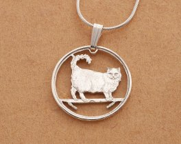 "Sterling Silver Birman Cat Pendant, hand cut Isle of Man Birman Cat Coin, Birman Cat Jewelry, 7/8"" diameter, ( # 668S )"