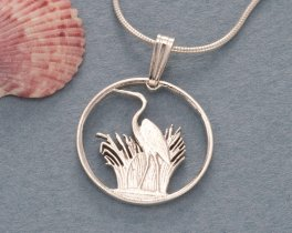 "Sterling Silver Blue Heron Pendant and Necklace, Hand Cut Blue Heron Coin Jewelry Pendant,  3/4"" in Diameter, ( # 231S )"