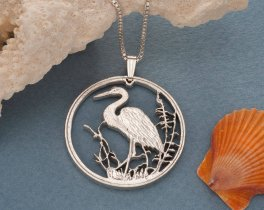 "Sterling Silver Blue Heron Pendant, Hand cut Russian 10 Ruple Coin, Sterling Silver Tropical bird Jewelry, 1 1/4"" in Diameter, ( # 494S )"