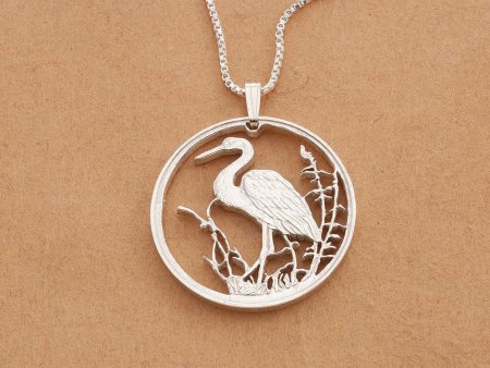 """Sterling Silver Blue Heron Pendant, Hand cut Russian 10 Ruple Coin, Sterling Silver Tropical bird Jewelry, 1 1/4"""" in Diameter, ( # 494S )"""