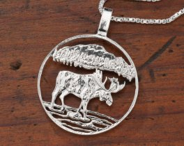 "Sterling Silver Bull Moose Pendant, Hand Cut Canadian One Dollar Moose Coin, Wild Life Jewelry, 1"" in Diameter, ( # 419S )"