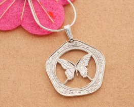 "Sterling Silver Butterfly Pendant and Necklace, Hand cut Belize Butterfly Coin Pendant, Silver Butterfly Jewelry, 1"" diameter, ( # 657S )"