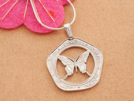 """Sterling Silver Butterfly Pendant and Necklace, Hand cut Belize Butterfly Coin Pendant, Silver Butterfly Jewelry, 1"""" diameter, ( # 657S )"""