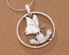 "Sterling Silver Butterfly Pendant, Hand Cut Butterly Coin from Mauritius, Butterfly Jewelry, 1"" in Diameter, ( # 379S )"