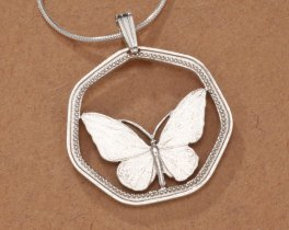"Sterling Silver Butterfly Pendant, Hand Cut New Guinea Butterfly Coin, Butterfly Jewelry, 1"" in Diameter, ( # 811S )"