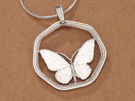 """Sterling Silver Butterfly Pendant, Hand Cut New Guinea Butterfly Coin, Butterfly Jewelry, 1"""" in Diameter, ( # 811S )"""