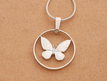 "Sterling Silver Butterfly Pendant, Hand cut Philppines Butterfly Coin, Silver Butterly Jewelry, 3/4"" in Diameter, ( # 251S )"